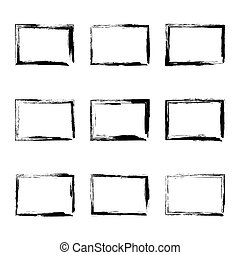 Set hand drawn rectangle frame.