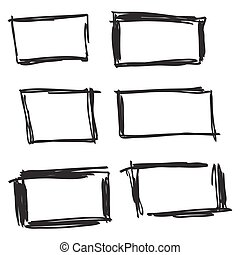 Set hand drawn rectangle. - Set hand drawn rectangle, felt-...