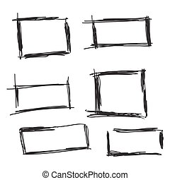 Set hand drawn rectangle.