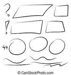 Set hand drawn rectangle.