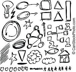 Set hand drawn shapes, circle, square, star, triangle, line