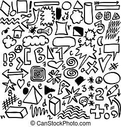 set hand drawn shapes