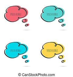 Set hand drawn speech bubble. Vector frame. Text box. ...