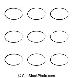 Set hand drawn square. - Set hand drawn ovals, circle, curve...