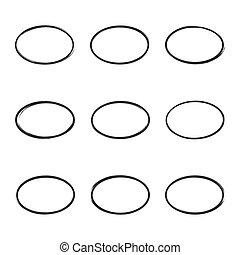 Set hand drawn square. - Set hand drawn ovals, circle, curve...