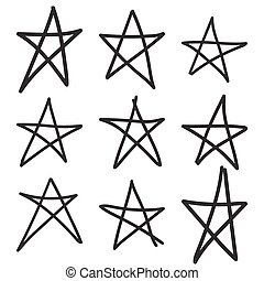 Set hand drawn star. Vector collection of ruggedly handdrawn stars uneven lines.