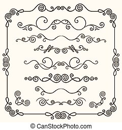 set, hand-drawn, vettore, doodles, linea, bordo