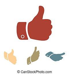 set., hand, isometrisch, effekt, ikone