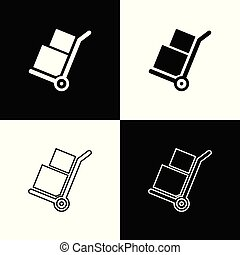 Set Hand truck and boxes icons isolated on black and white background. Dolly symbol. Line, outline and linear icon. Vector Illustration