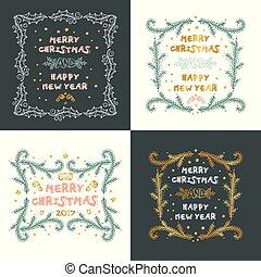 set, hand, vector, decorations., kaarten, getrokken, kerstmis