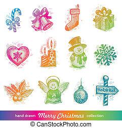 set, hand, vector, getrokken, vakantie, kerstmis