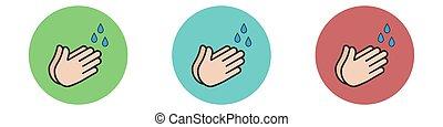 Set hand wash icon isolated on white background.Vector illustration.