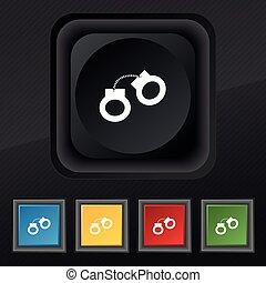 set, handcuffs, symbool., textuur, kleurrijke, knopen, vector, black , modieus, vijf, pictogram, jouw, design.
