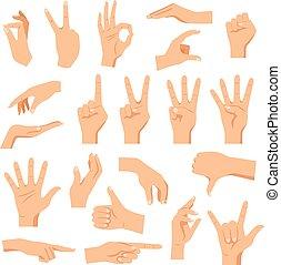 set, handen