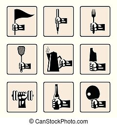 hands with various household items