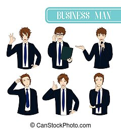 Set Handsome Business Man Cartoon Character.