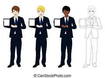 Set Handsome Business Man Presentation Tablet