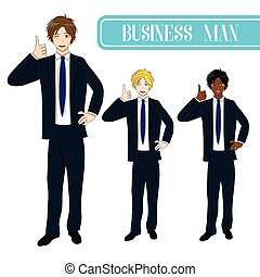 Set Handsome Business Man Thumb Up.