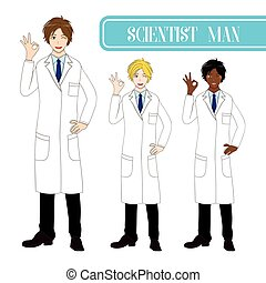 Set Handsome Scientist Man Showing OK Hand Sign. Medical Staff Male.