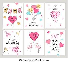 Set Happy Valentine's Day cards.