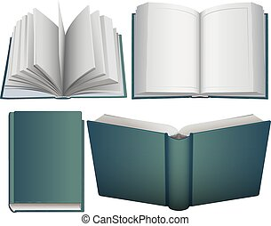 Set hardcover open and close book