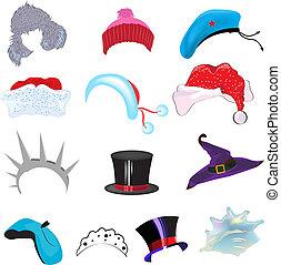 Set hat caps. Illustration in vector format