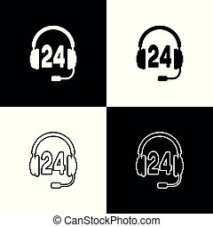Set Headphone for support or service icon on black and white background. Concept of consultation, hotline, call center, faq, maintenance, assistance. Line, outline and linear icon. Vector Illustration
