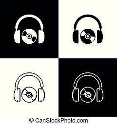 Set Headphones and CD or DVD icons isolated on black and white background. Earphone sign. Compact disk symbol. Line, outline and linear icon. Vector Illustration