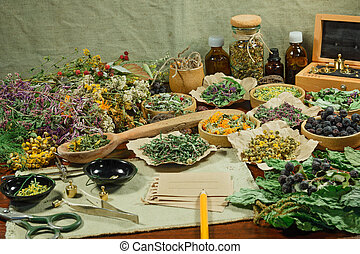 Dried herbs for use in alternative medicine