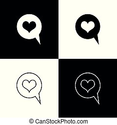 Set Heart in speech bubble icons isolated on black and white background. Heart shape in message bubble. Love sign. Valentines day symbol. Line, outline and linear icon. Vector Illustration