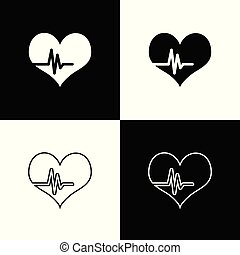 Set Heart rate icons isolated on black and white background. Heartbeat sign. Heart pulse icon. Cardiogram icon. Line, outline and linear icon. Vector Illustration