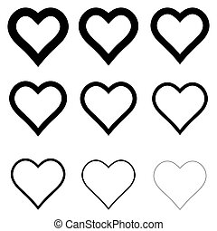 set heart shape icons, vector symbol of love and romance hearts with thick outline stroke