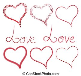 Set hearts and inscriptions of different style and type. Love. Vector elements for your creativity