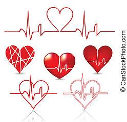 Set hearts beats graph. Vector