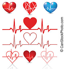 Set hearts beats graph. Vector illustration on white