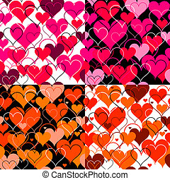 Set hearts pink seamless Backgrounds. Vector