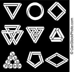 set, heilig, geometry., shapes., lijnen, vrijstaand,...