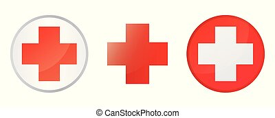 Set help icons isolated on white background. Medical cross. Vector illustration