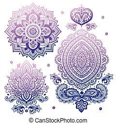 set, henna, mandala., indiër, floral, ornaments.