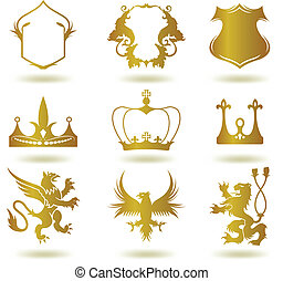 Set heraldic gold elements. Vector art illustration