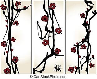 """set, hiëroglief, verticaal, blossom , lente, kers, """"sakura"""", banieren"""