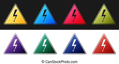 Set High voltage sign icon isolated on black and white background. Danger symbol. Arrow in triangle. Warning icon. Vector
