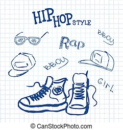 set hip hop style accessories, vector illustration