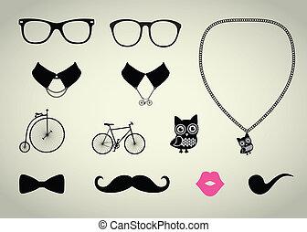 set, hipster, accessorio
