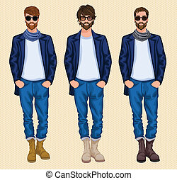 set, hipster, uomo