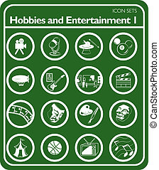 set, hobbies, pictogram