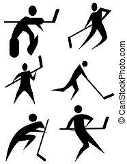set, hockey, figuur, stok