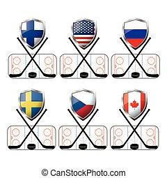 Set hockey icon or logo