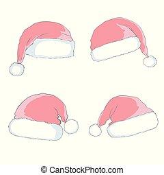 set, hoedje, kerstman