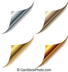 set, hoeken, vrijstaand, metalen, white., pagina, gekrulde